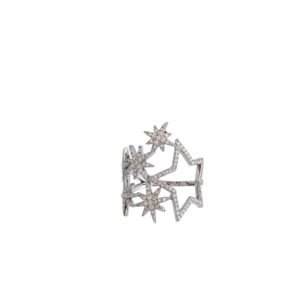 Diamond Multi Star Statement Ring Sterling Silver