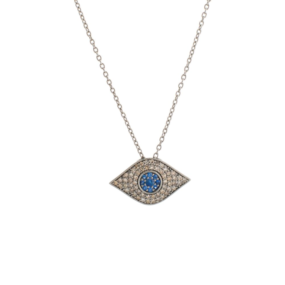 Diamond + Sapphire Evil Eye Necklace Sterling Silver