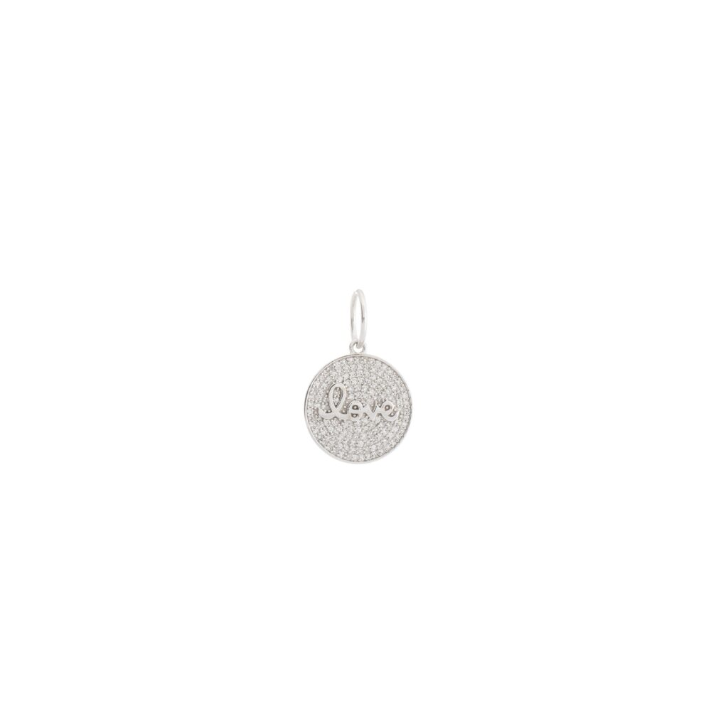 Diamond Script Love Disc Charm White Gold