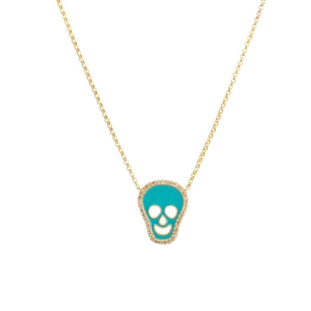Diamond Turquoise Enamel Skull Necklace Yellow Gold
