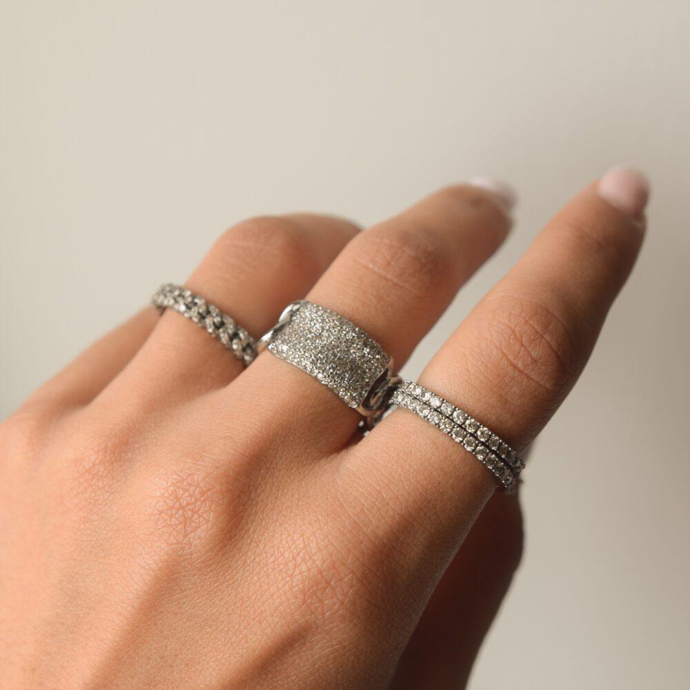 Diamond Wide ID Band Rhodium Sterling Silver