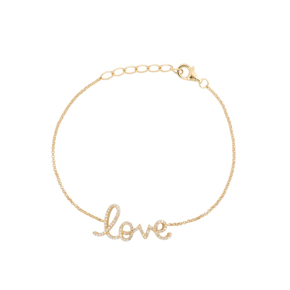 Love Script Chain Bracelet Yellow Gold