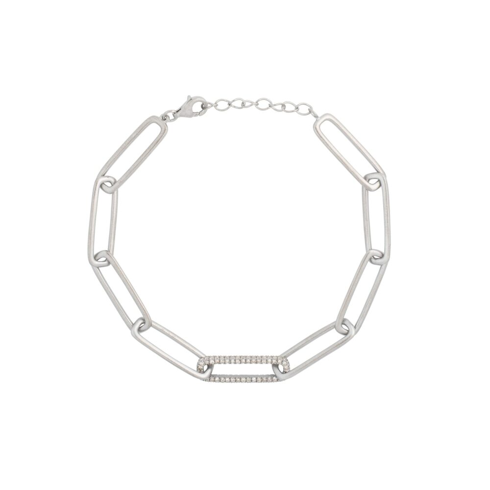 Matte Chain Link Bracelet with Diamond Link Sterling Silver