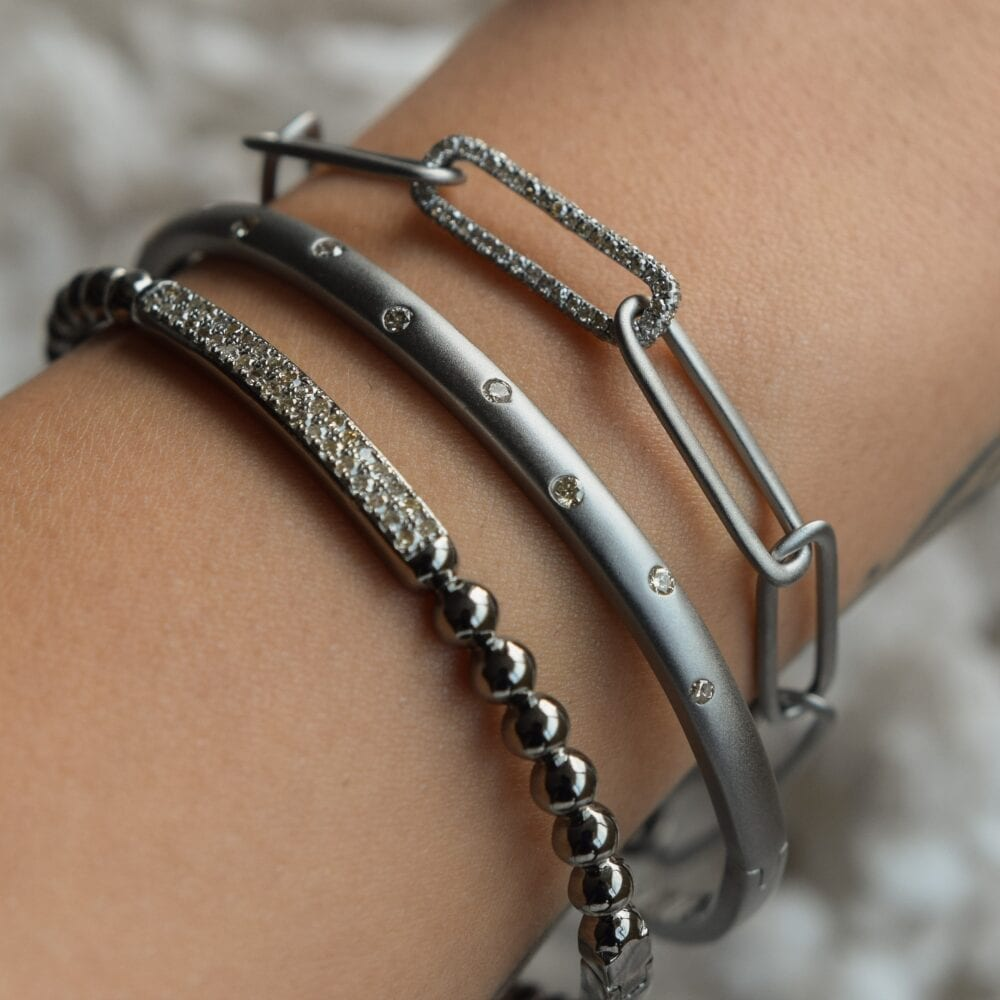 Matte Skinny Diamond Bangle