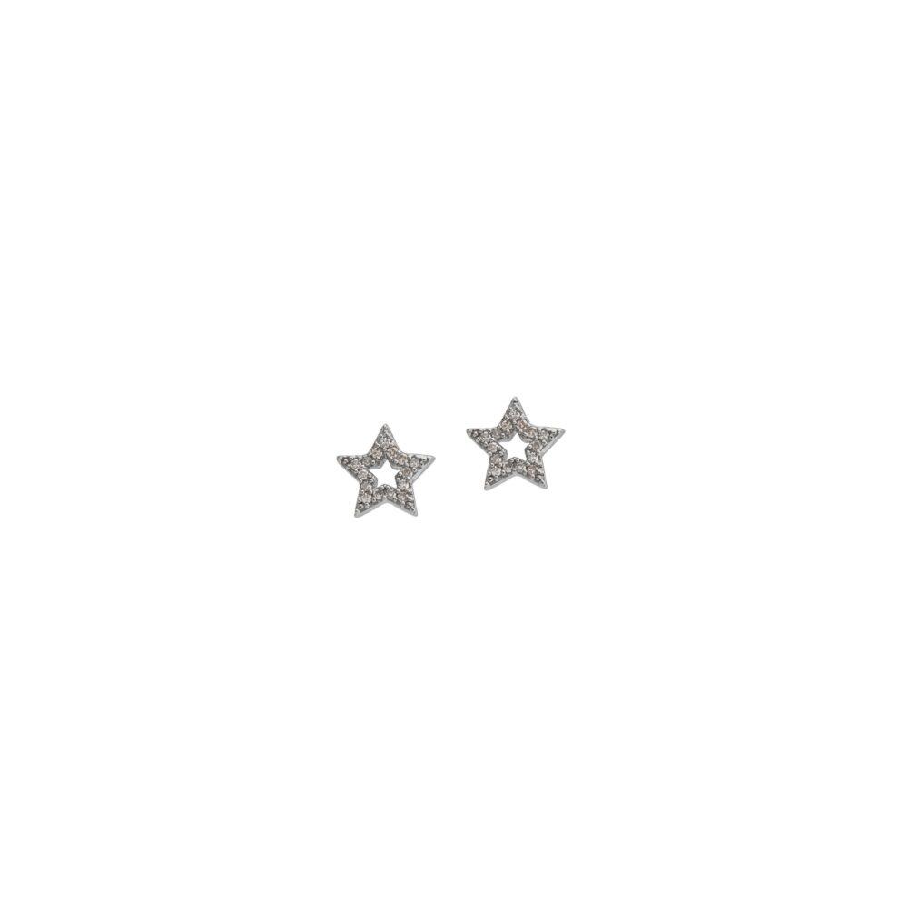 Mini Cutout Diamond Star Earrings Sterling Silver