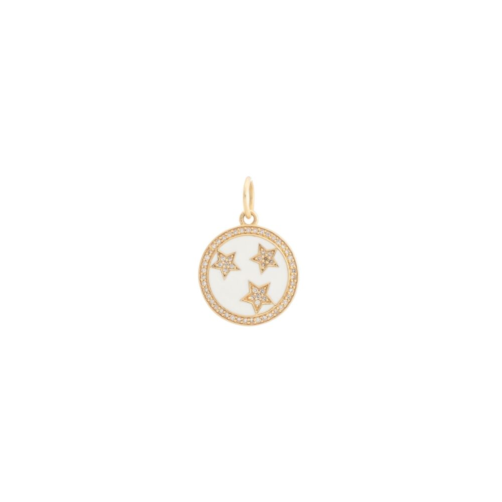 Mini Diamond + White Enamel Stars Disc Charm White Gold