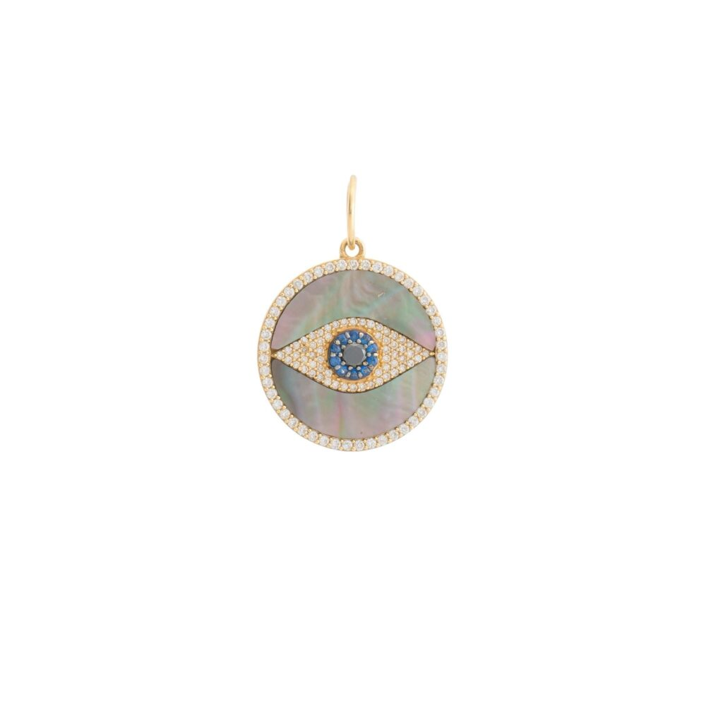 Onyx Mother of Pearl Evil Eye Disc Charm Yellow Gold