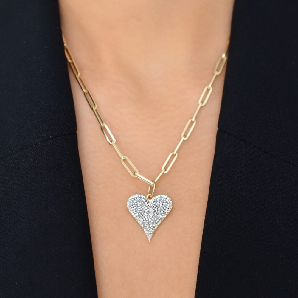 Pave Diamond Elongated Heart Charm