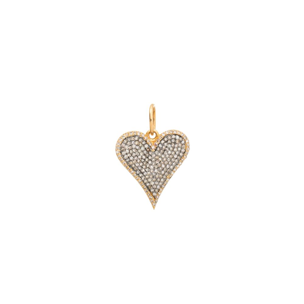 Pave Diamond Elongated Heart Charm Silver and Gold