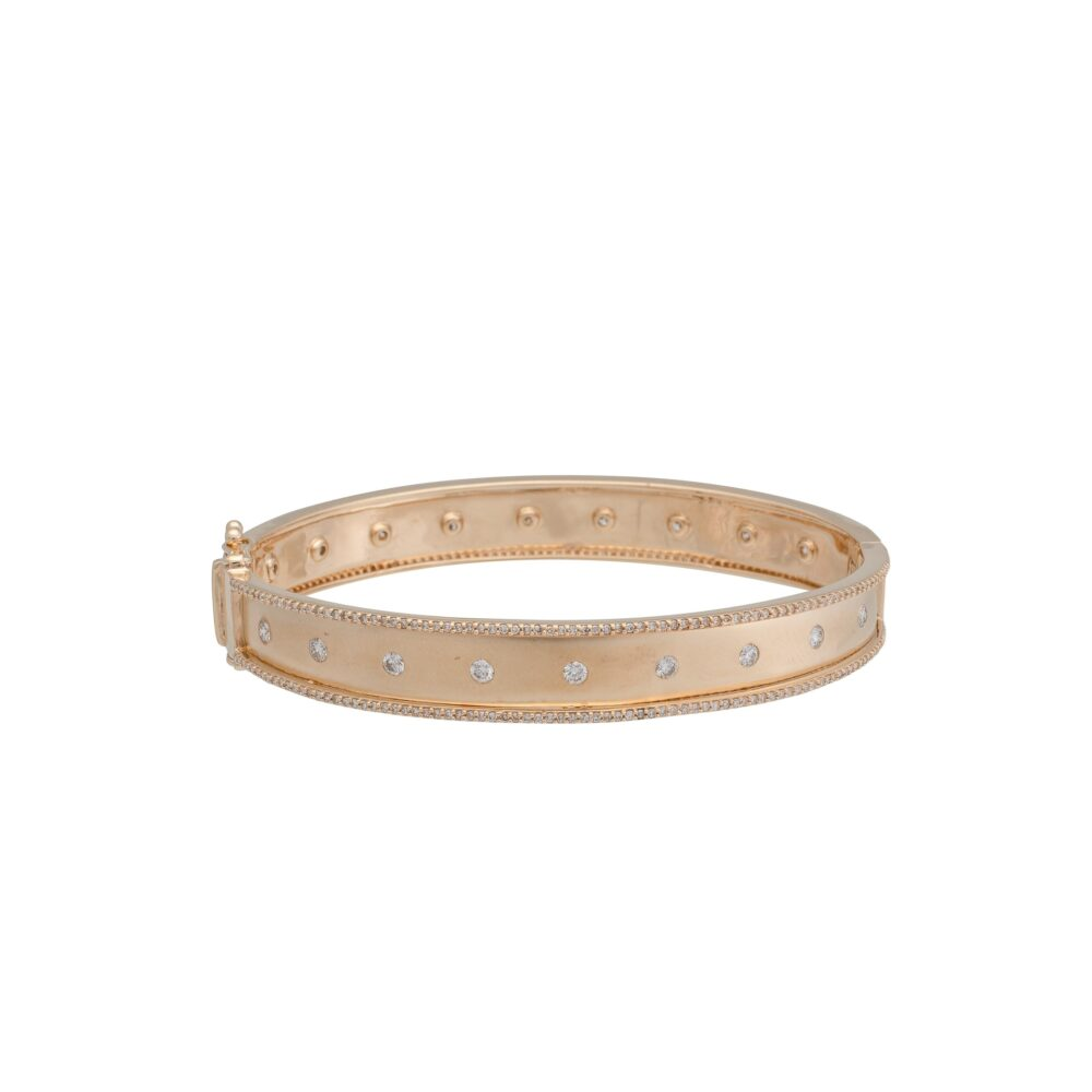 Wide Diamond Eternity Frame Bangle Yellow Gold