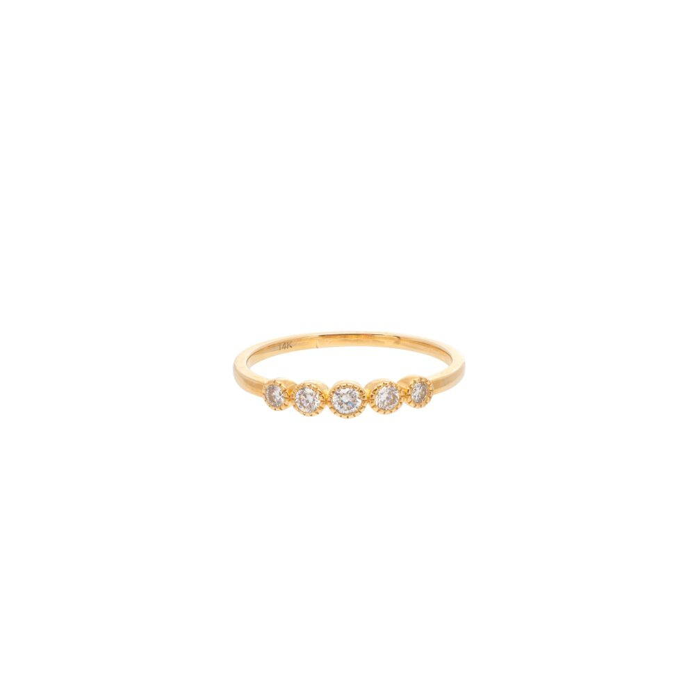 Diamond 5 Stone Stacking Ring Yellow Gold