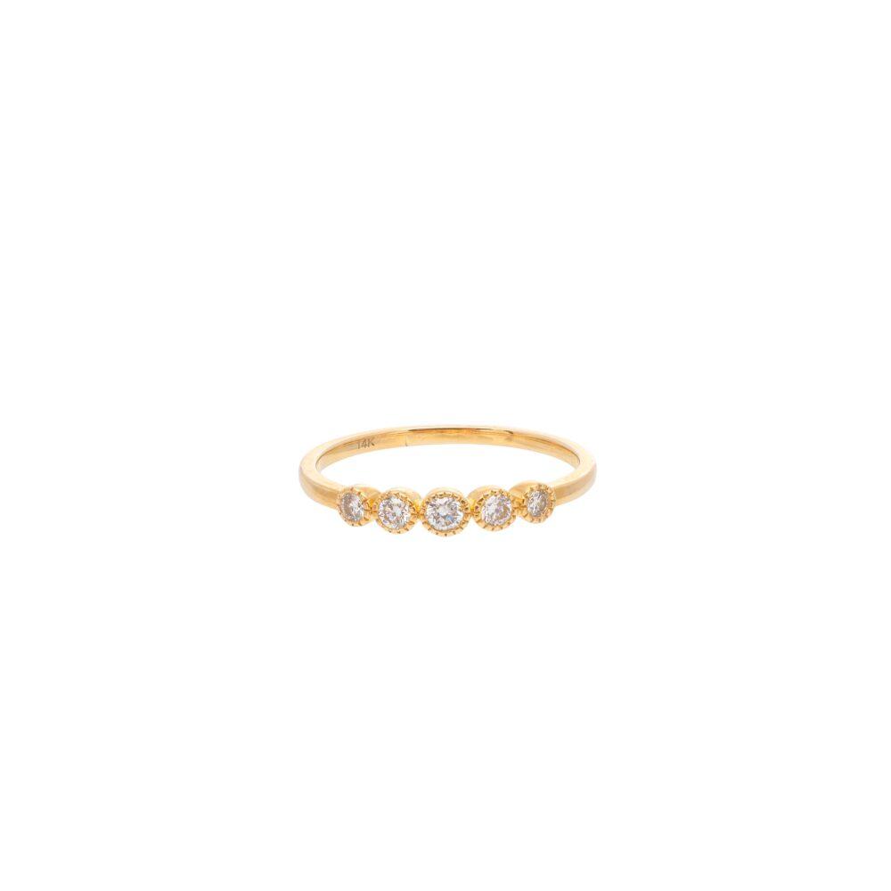 Diamond 5 Stone Stacking Ring Yellow Gold