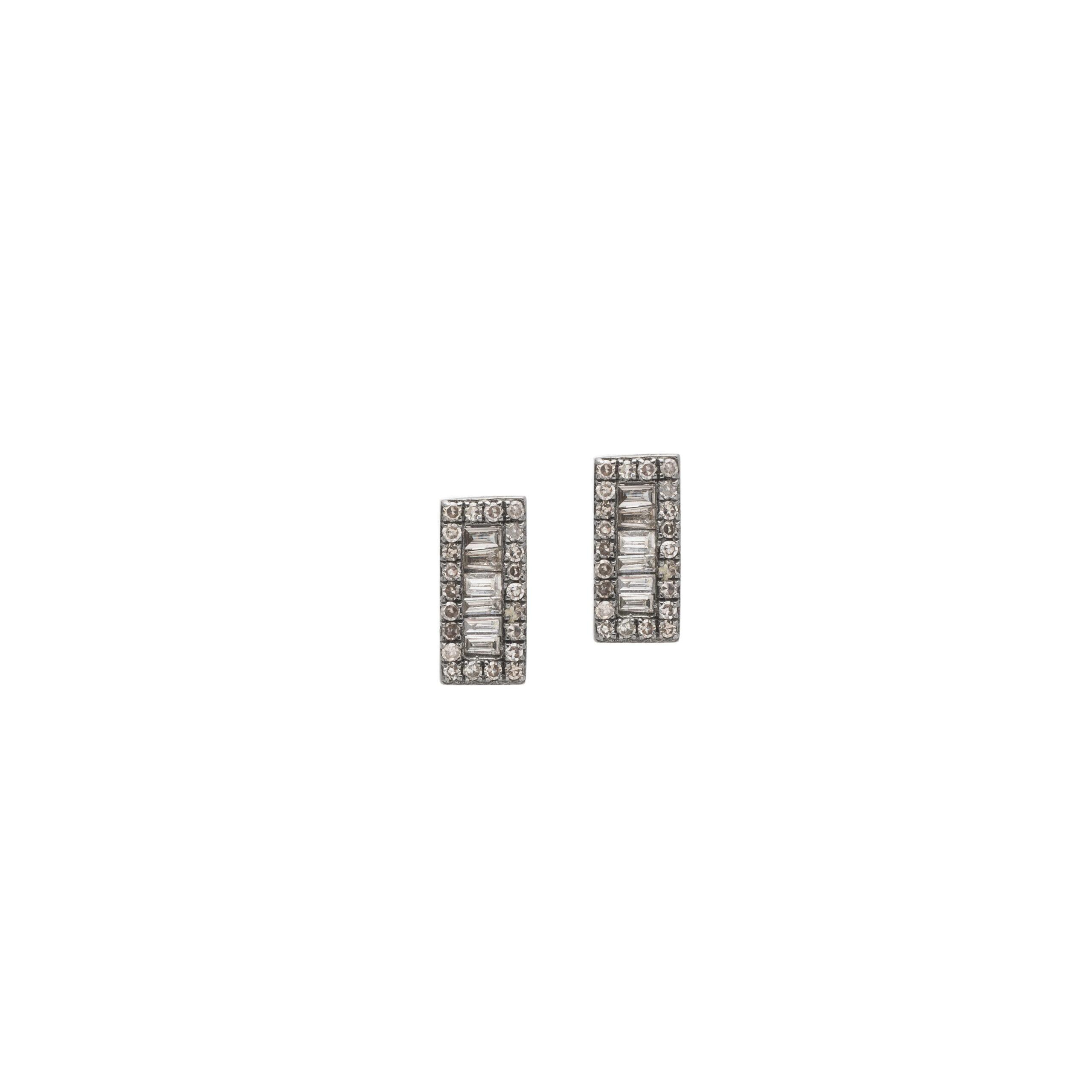 Diamond Baguette Rectangle Earrings