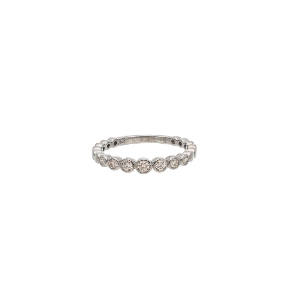 Diamond Bezel Set Stacking Ring Sterling Silver