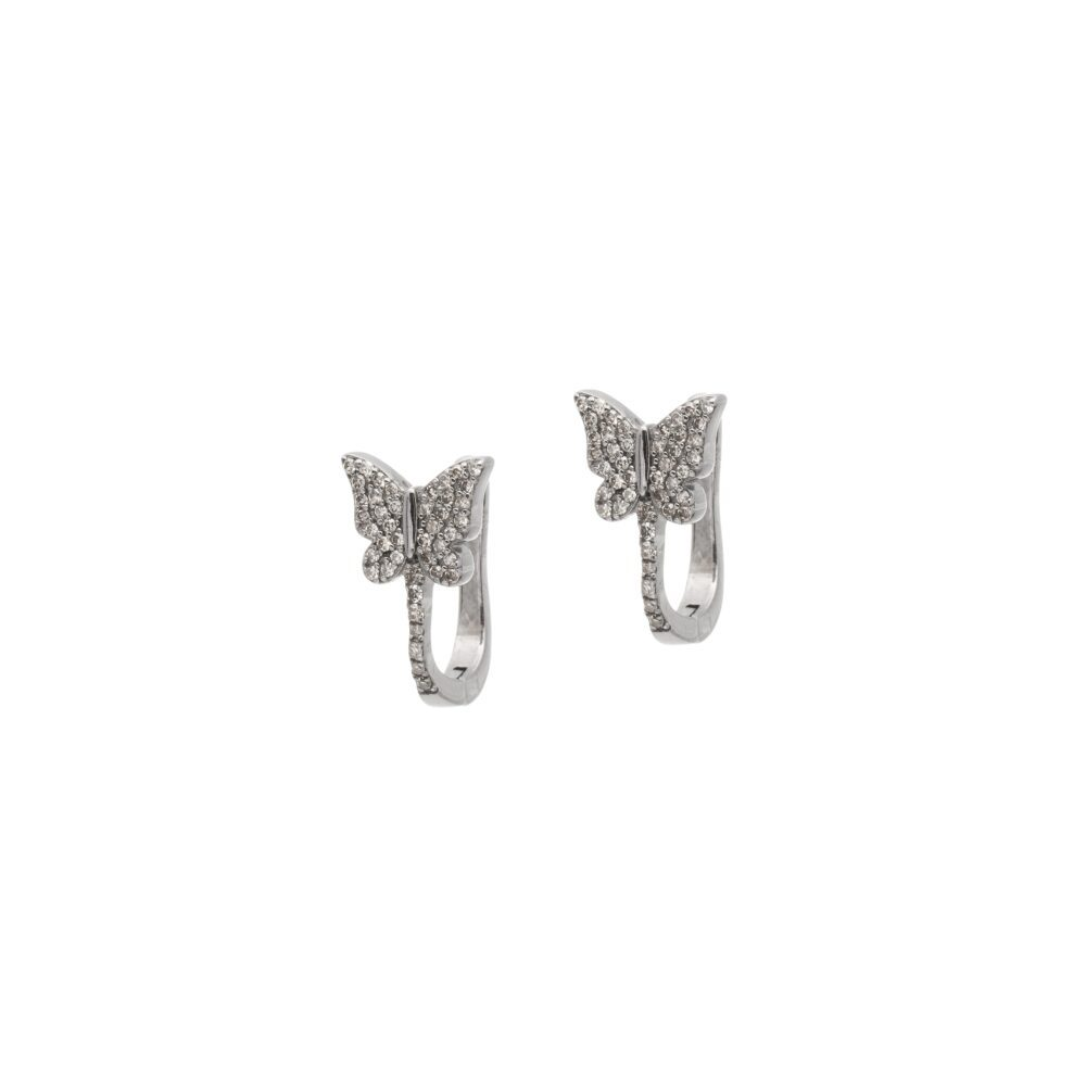 Diamond Butterfly French Clip Earrings