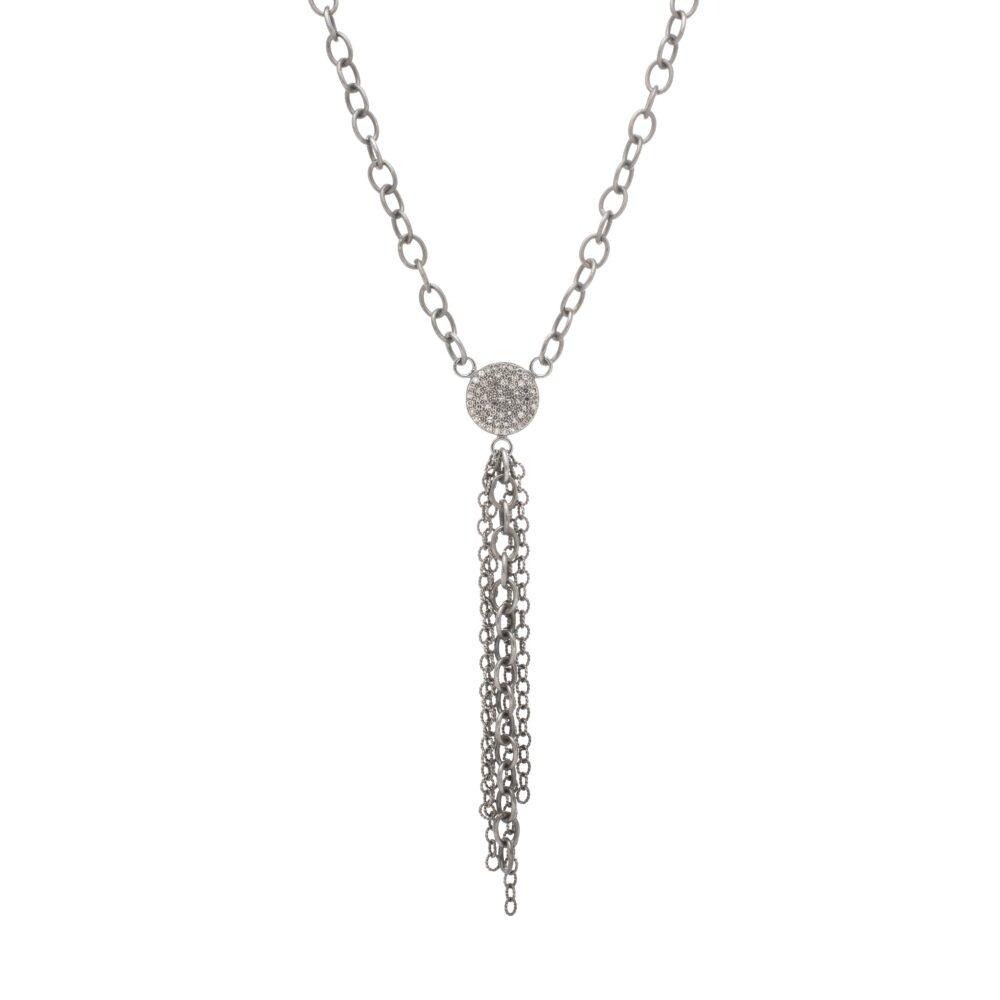 Diamond Circle + Chain Dangle Necklace