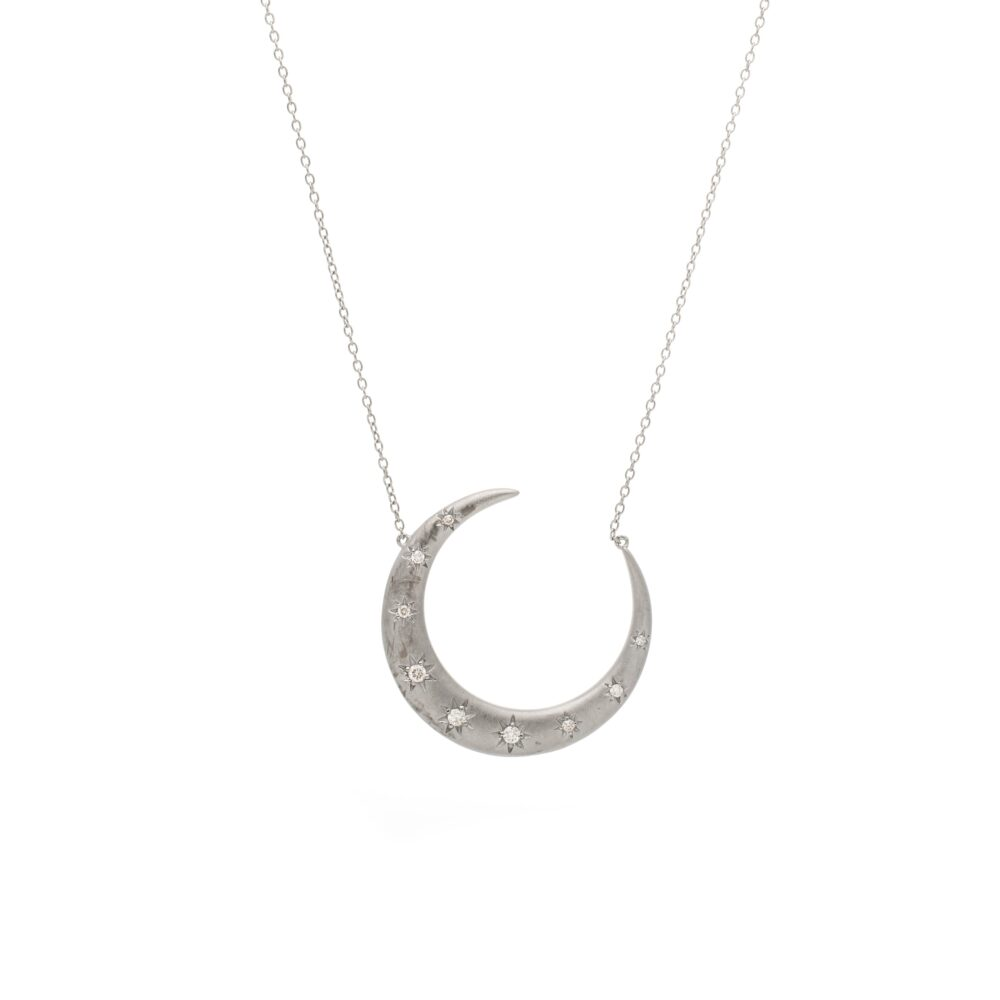 Diamond Crescent Star Necklace