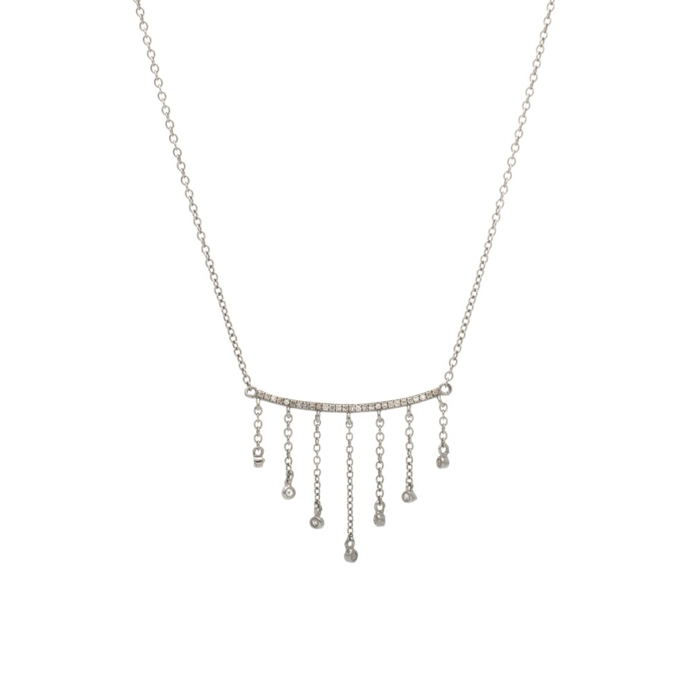 Diamond Curved Bar with Chain Diamond Dangles Necklace