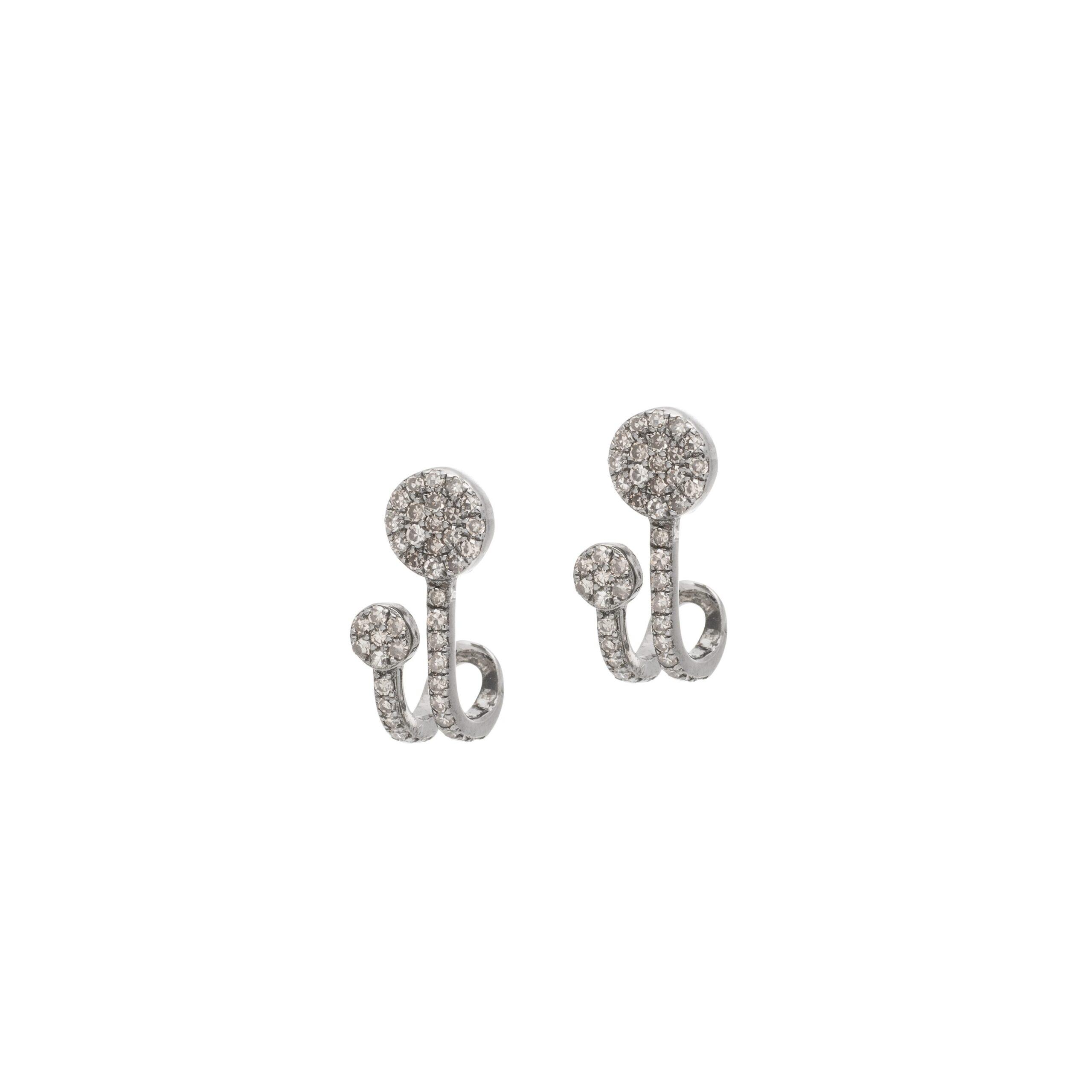 Diamond Double Circle Earrings