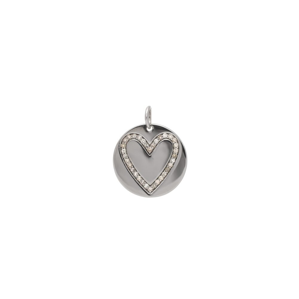 Diamond Heart Disc Charm Sterling Silver