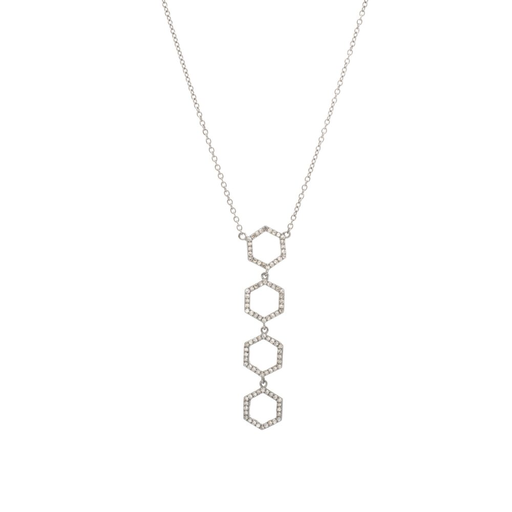 Diamond Hexagon Dangle Necklace