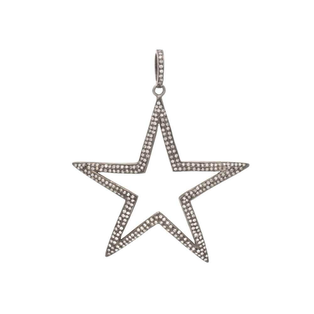 Diamond Large Open Star Pendant
