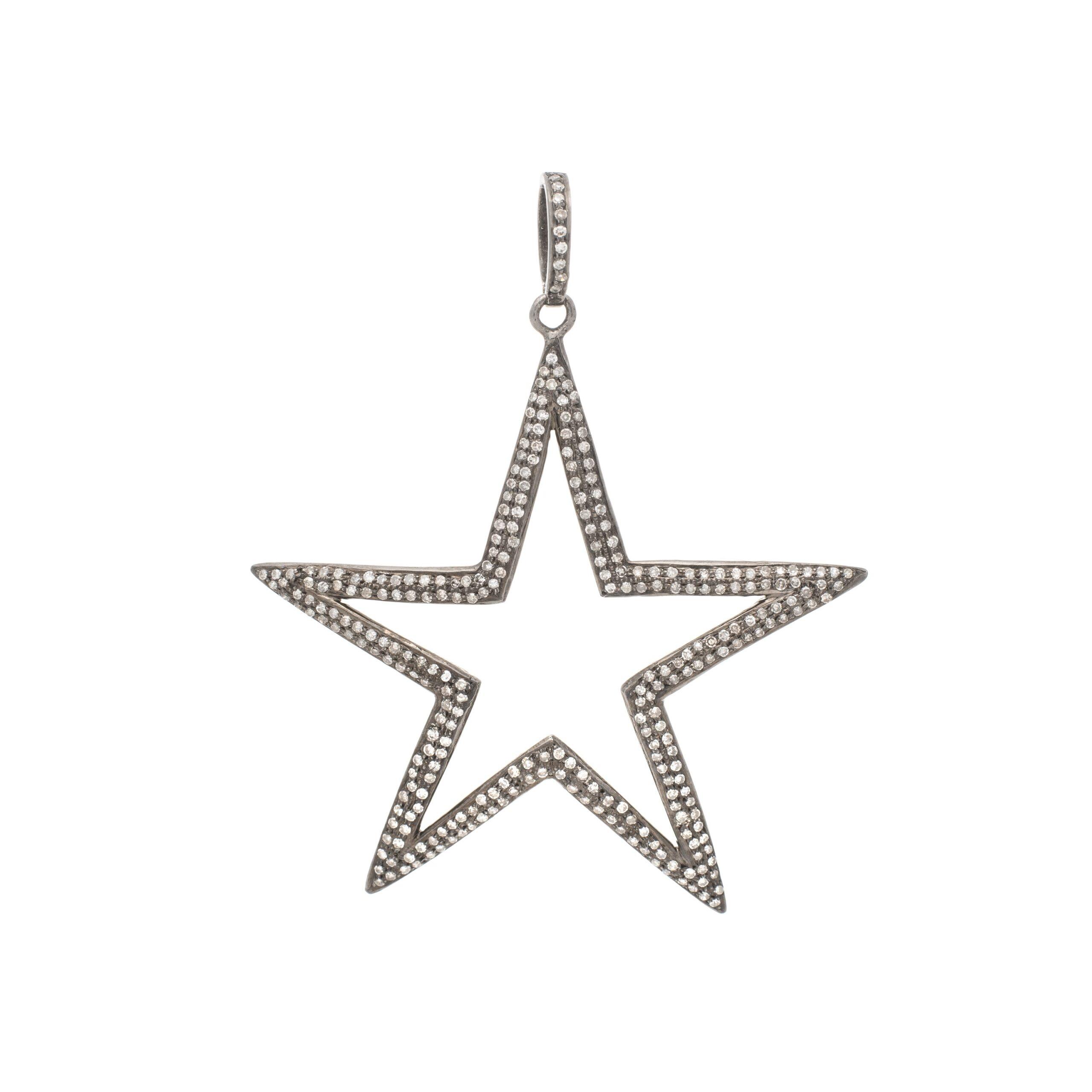 Diamond Large Open Star Pendant