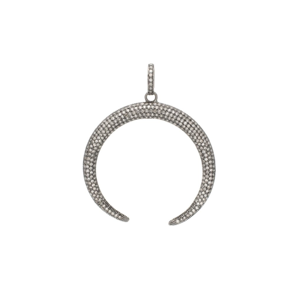 Diamond Large Reverse Horn Pendant