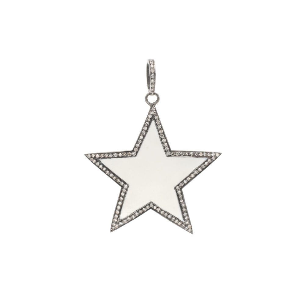 Diamond Large White Enamel Star Pendant