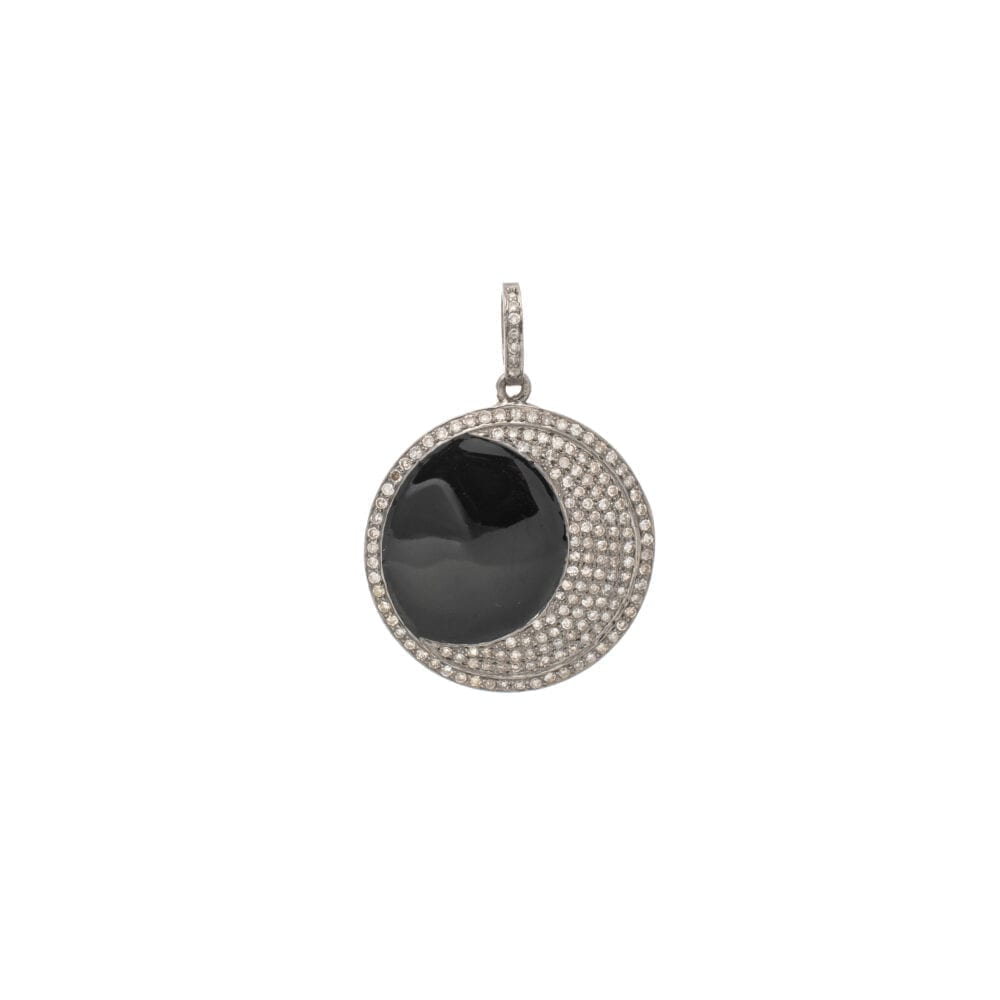 Diamond Moon with Black Onyx Pendant