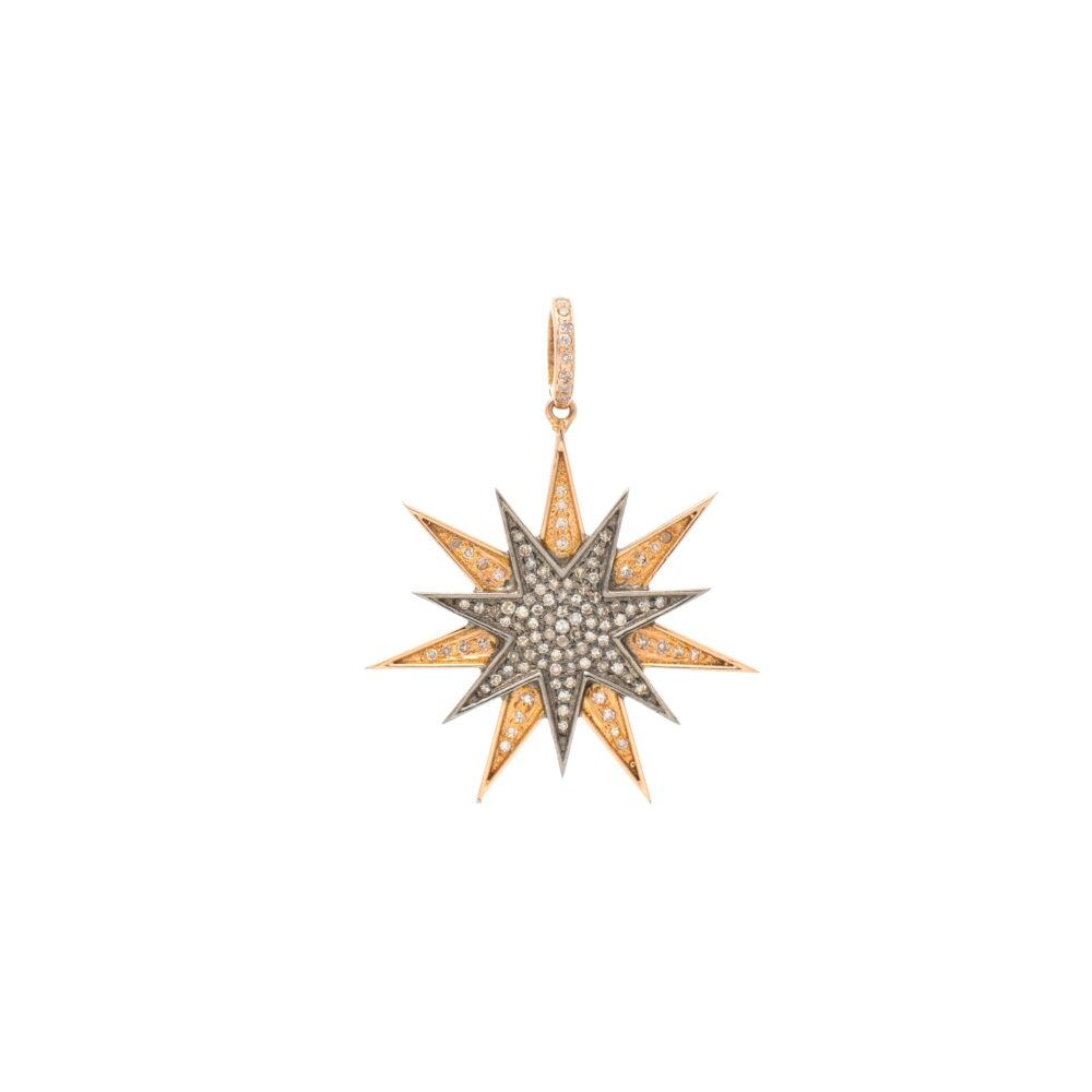 Diamond Rose Gold + Silver Double Sunburst Charm