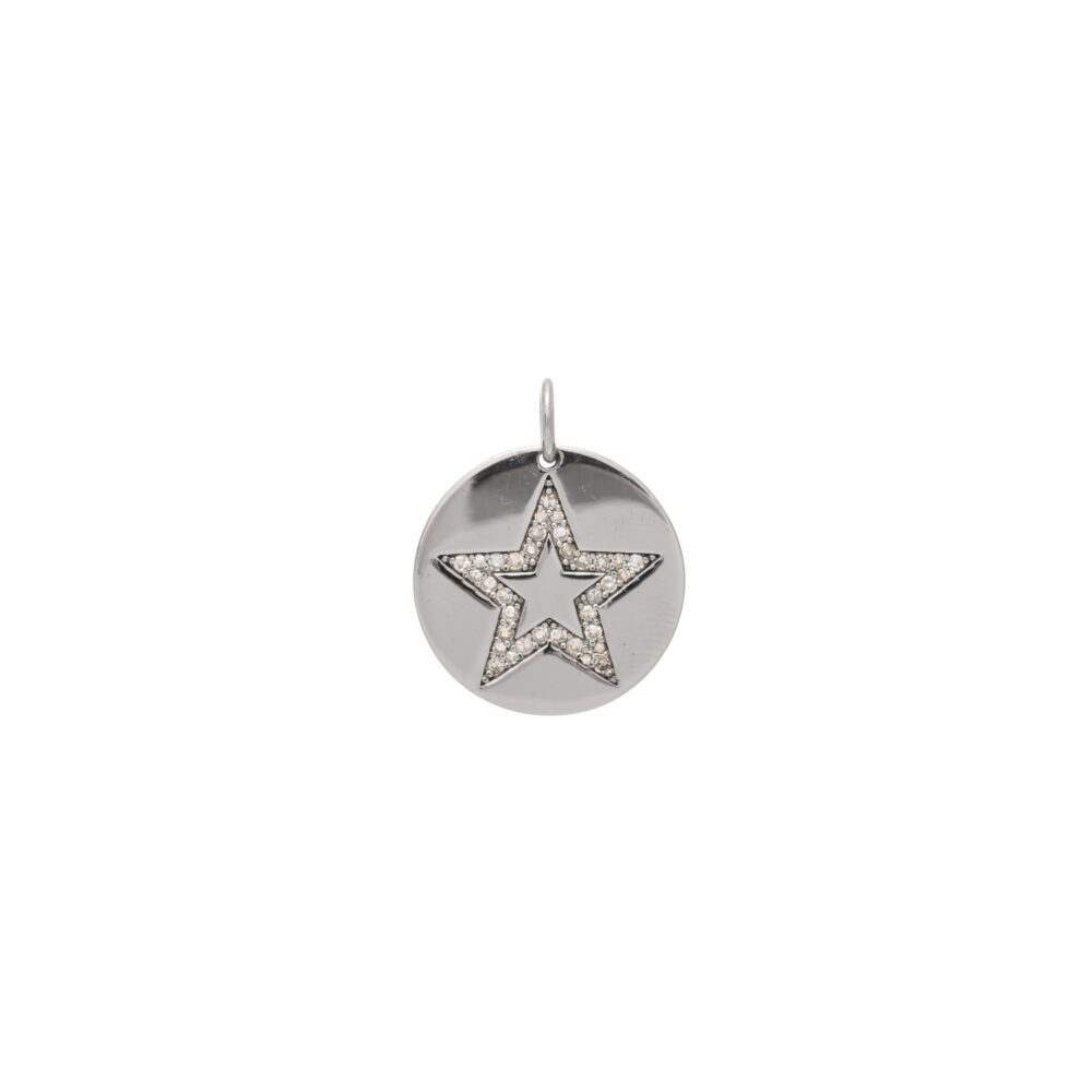 Diamond Star Disc Charm Sterling Silver