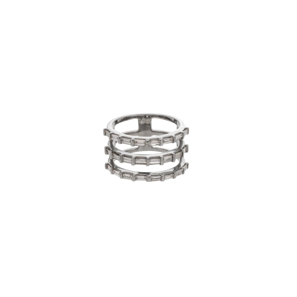 Triple Row Diamond Baguette Statement Ring