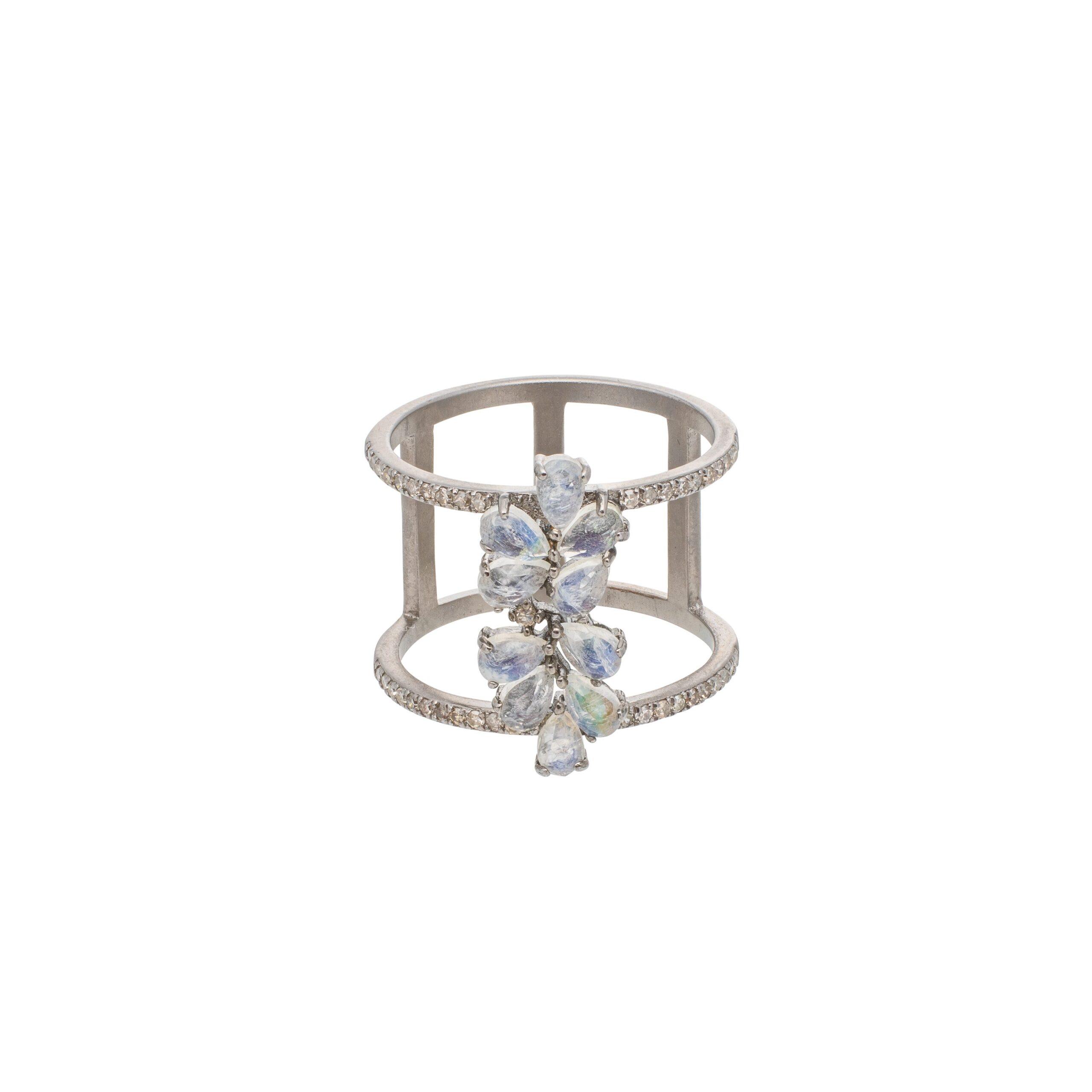 Diamond Labradorite Flower Statement Band