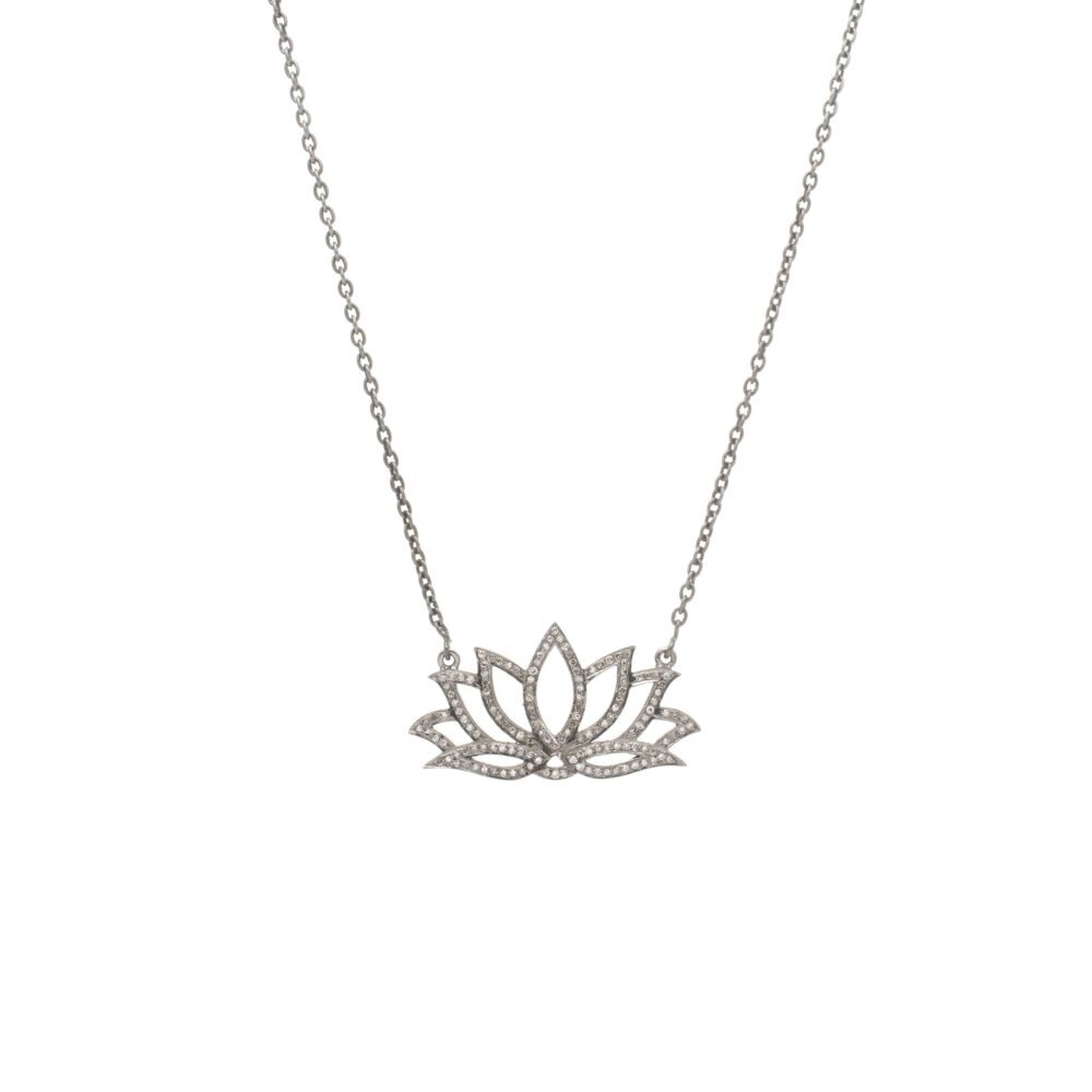 Large Diamond Lotus Flower Necklace
