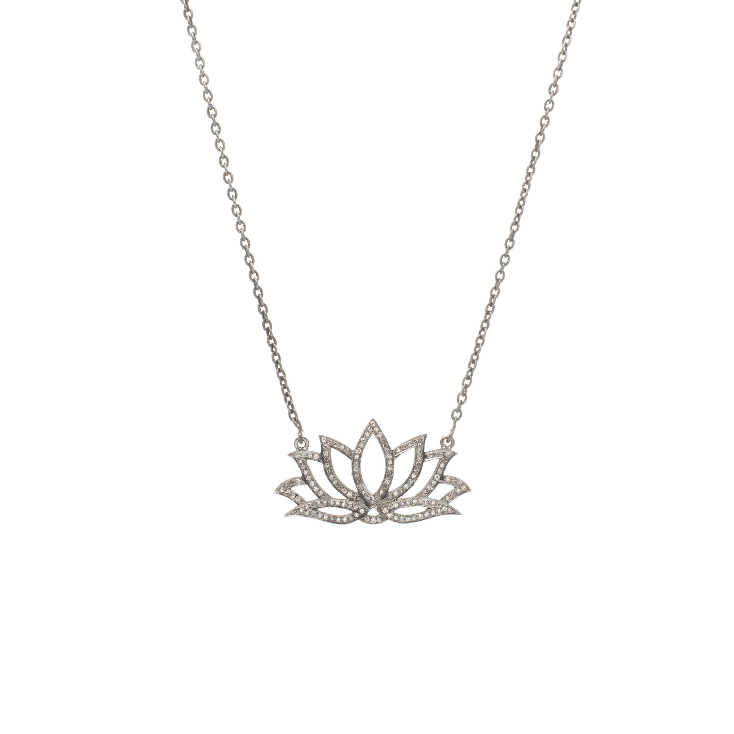 Large Diamond Lotus Flower Necklace
