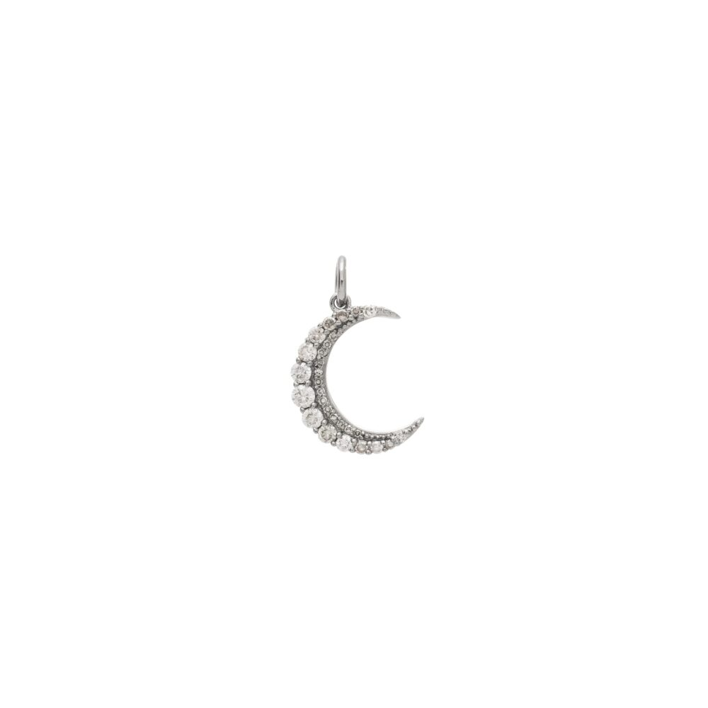 Crescent Diamond Charm Sterling Silver