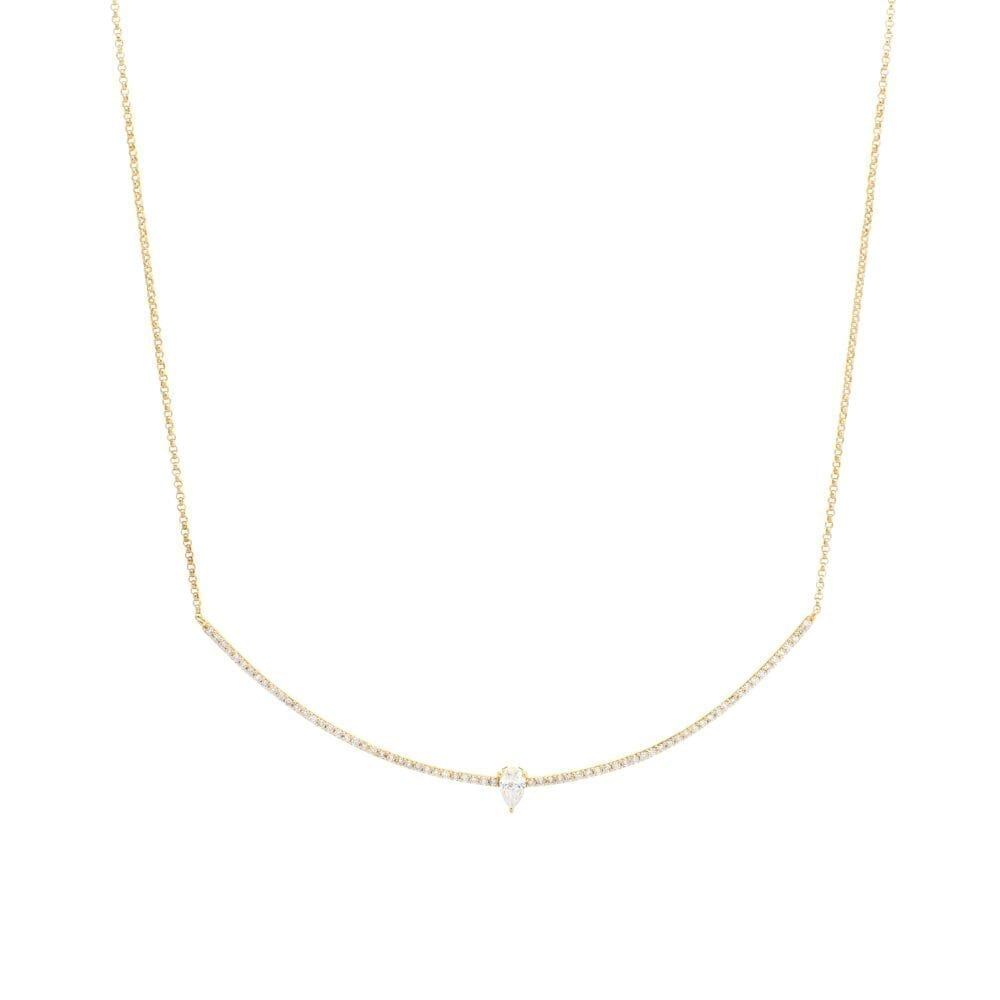 Curved Bar Diamond Pear Solitaire Necklace Yellow Gold
