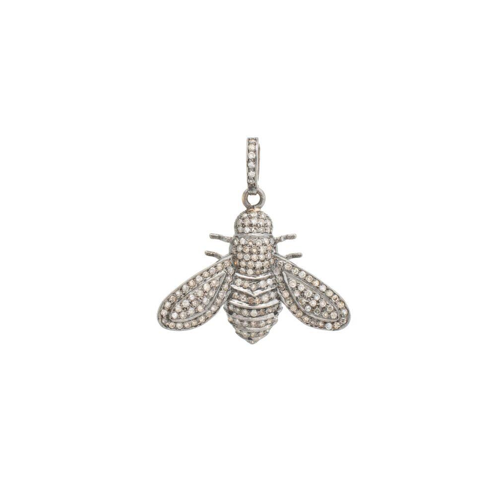 Diamond Bee Charm Sterling Silver