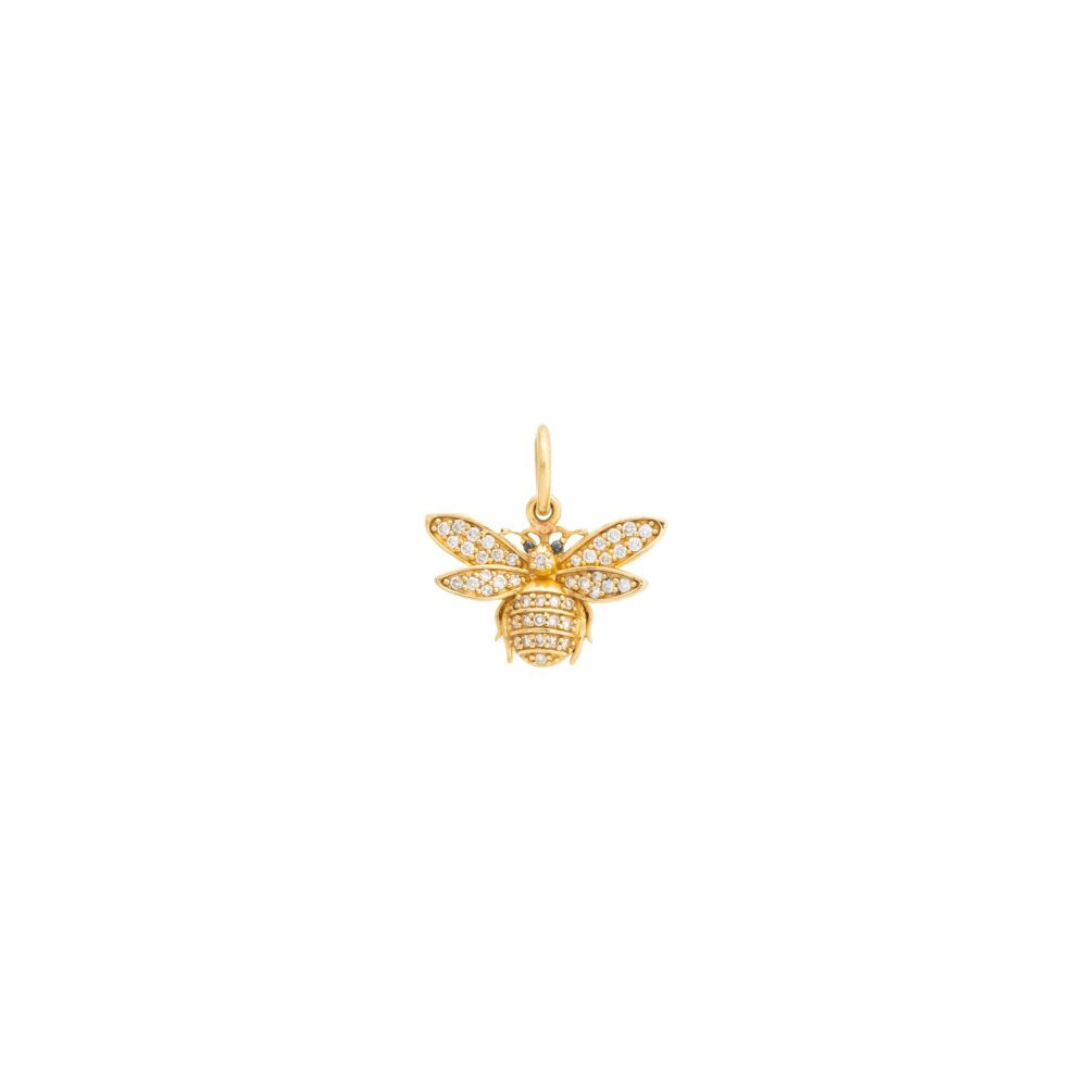 Diamond Bee with Onyx Charm Yellow Gold