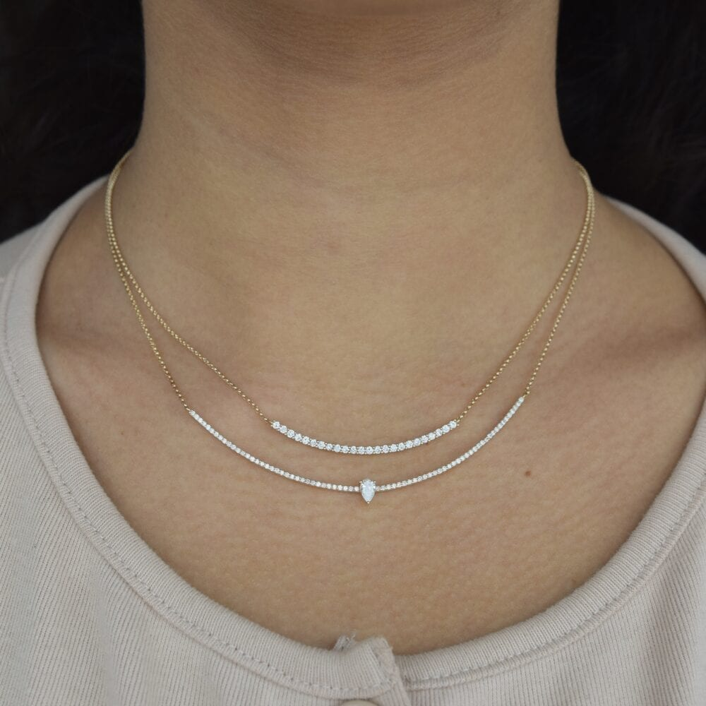 Diamond Curved Bar Pear Solitaire Necklace