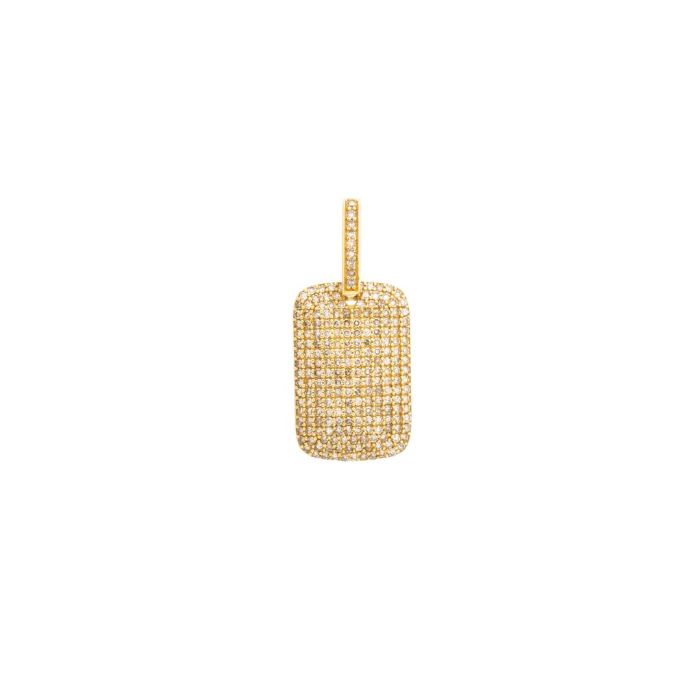 Diamond Dog Tag Yellow Gold