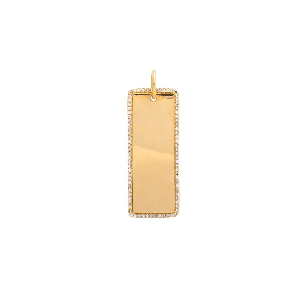 Diamond Encrusted Rectangle Dog Tag Yellow Gold