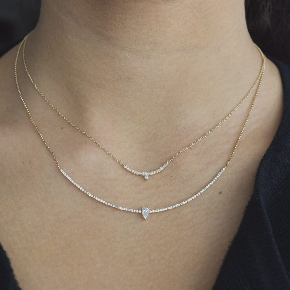 Diamond Mini Curved Bar Diamond Pear Solitaire Necklace