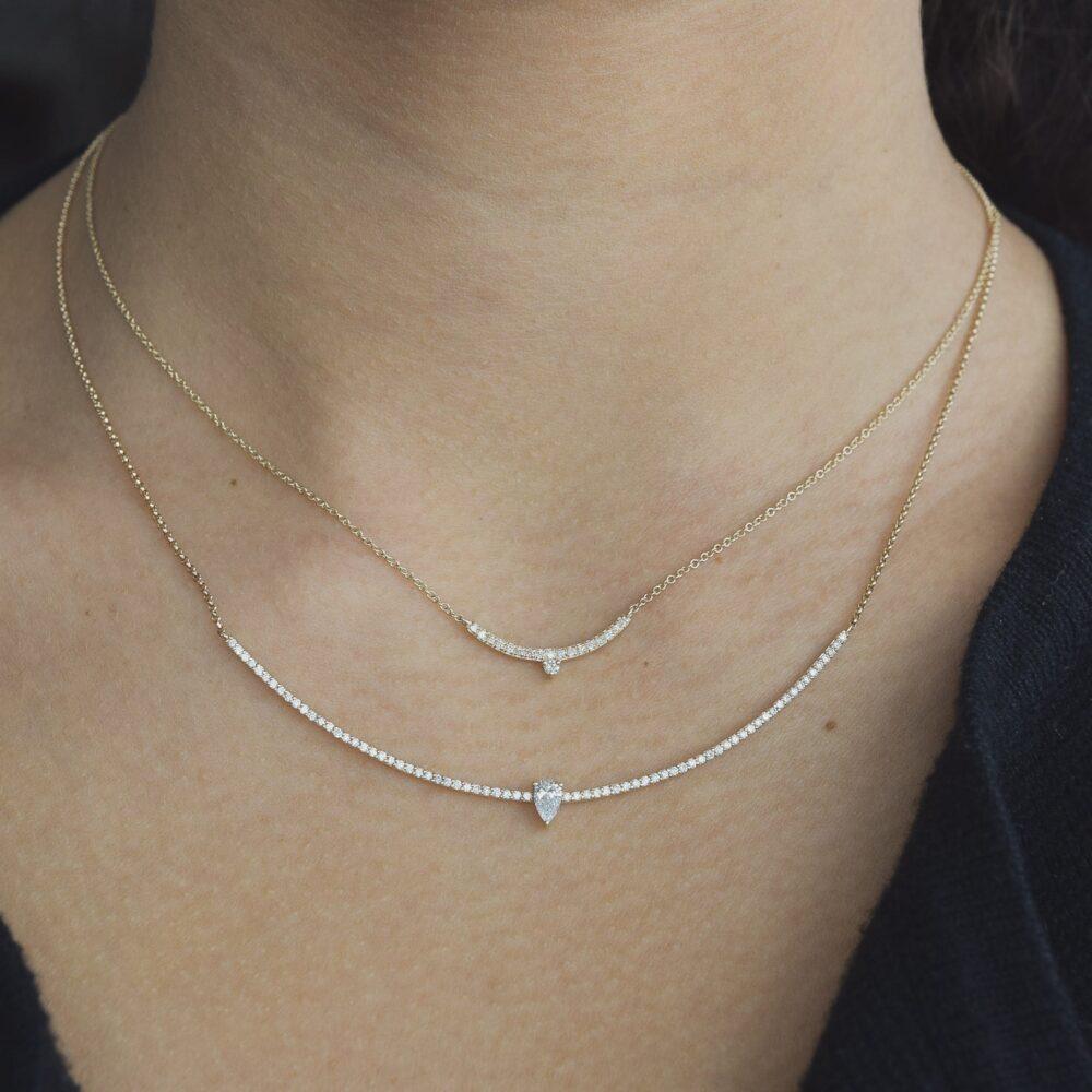 Diamond Mini Curved Bar Diamond Pear Solitaire Necklace