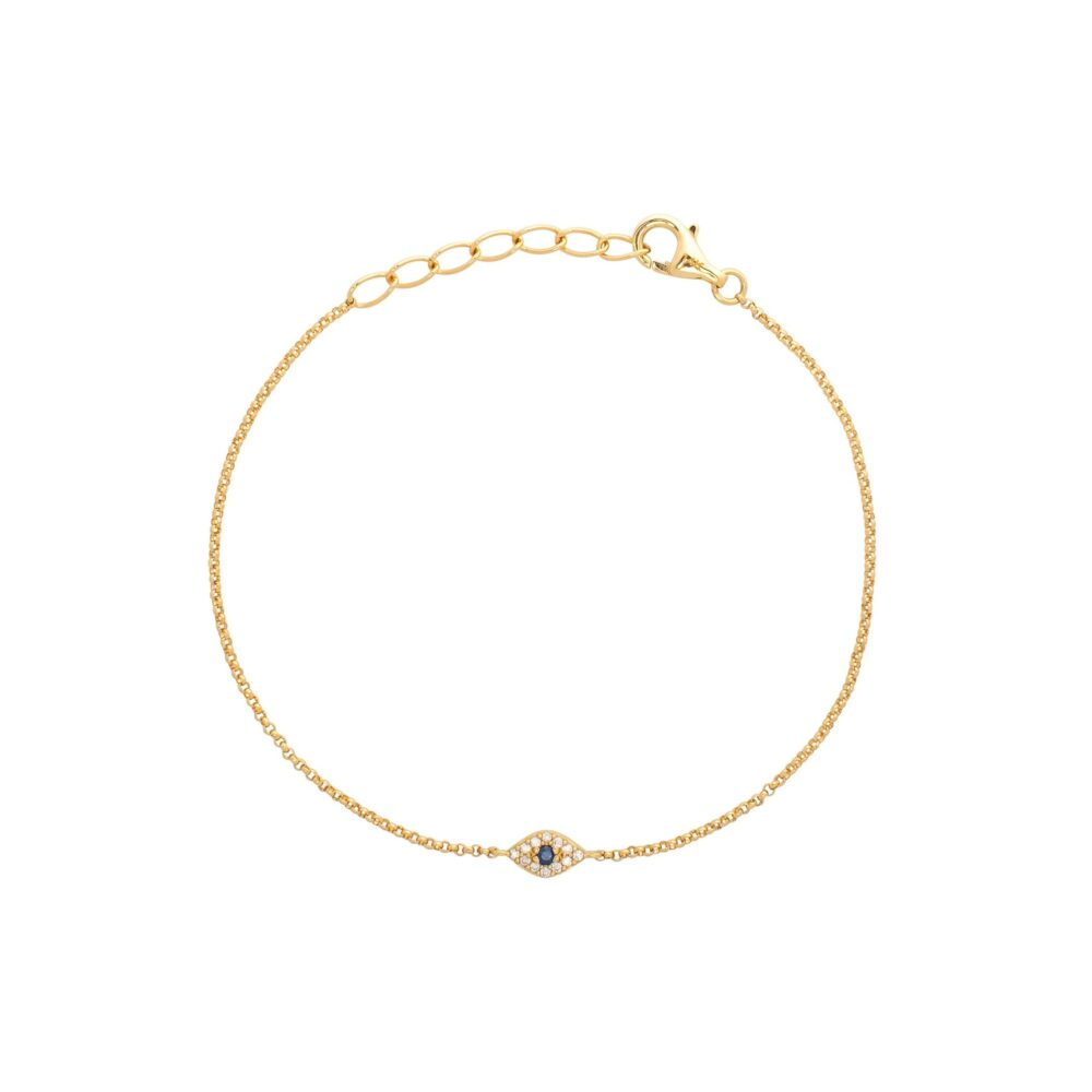 Diamond Mini Evil Eye Bracelet Yellow Gold