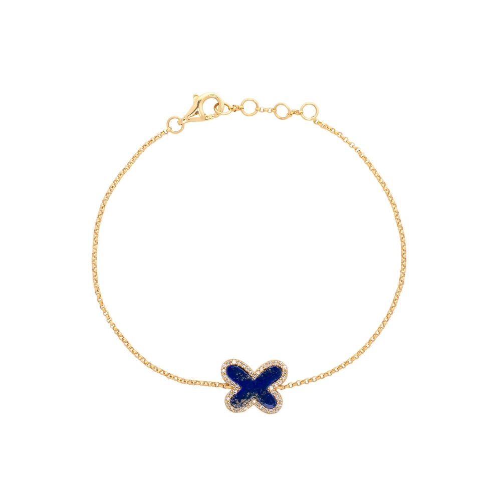 Diamond Mini Lapis Butterfly Bracelet Yellow Gold
