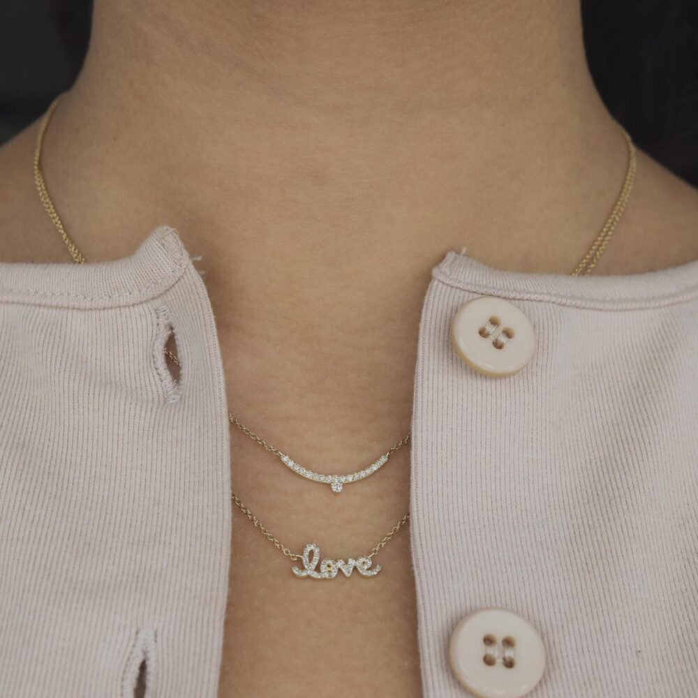 Diamond Mini Love Script Necklace