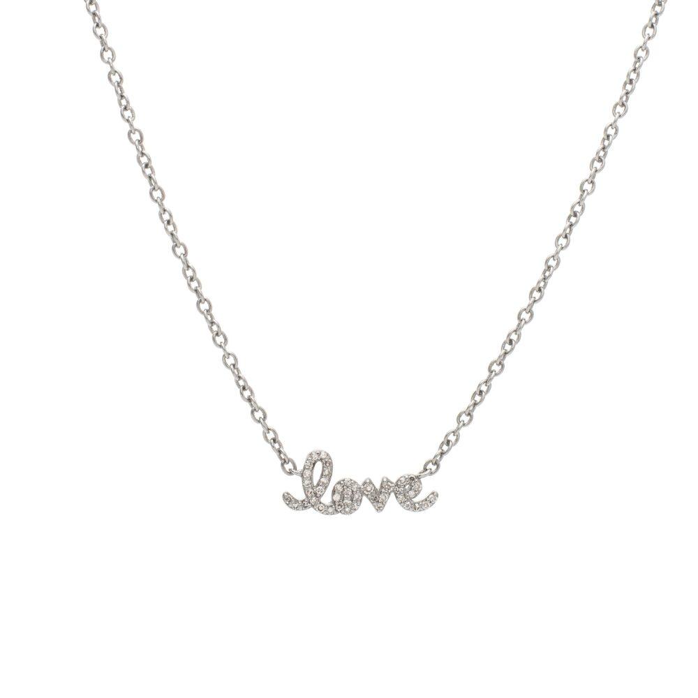 Diamond Mini Love Script Necklace Sterling Silver