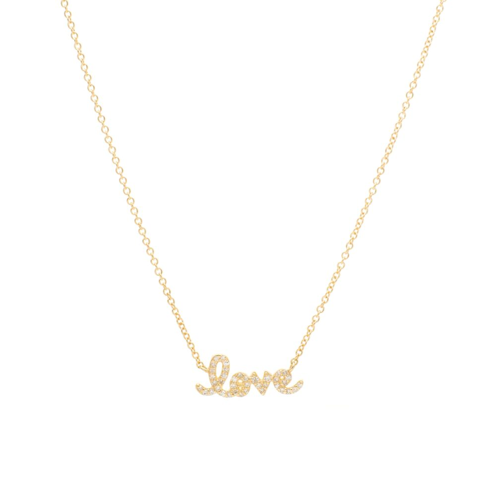Diamond Mini Love Script Necklace Yellow Gold